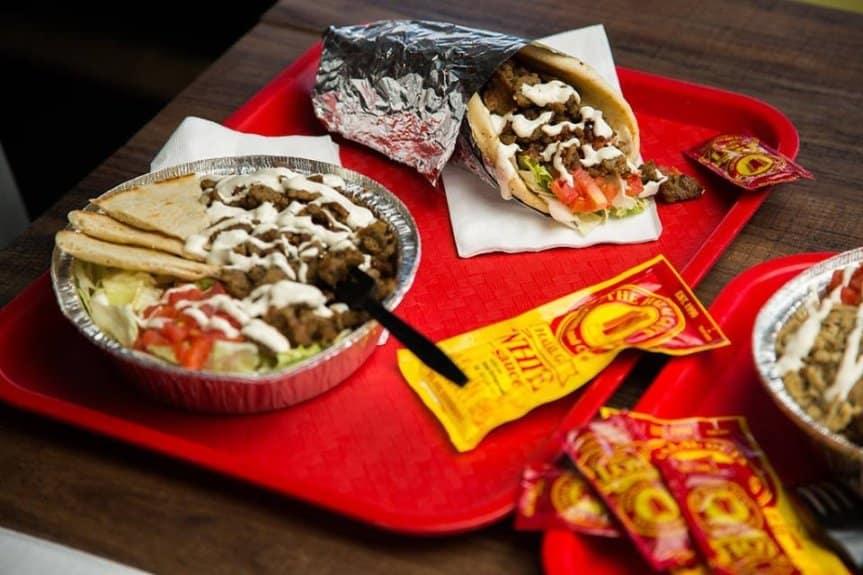 halal guys tray of food