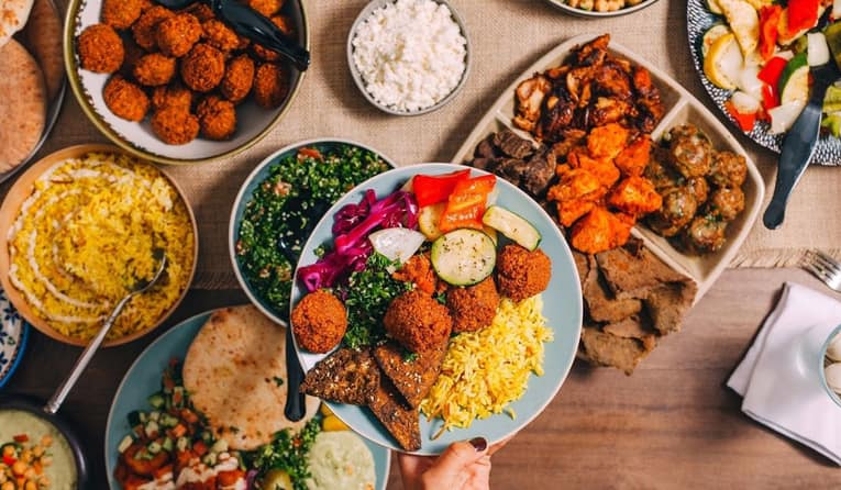 Hummus and Pita co food spread