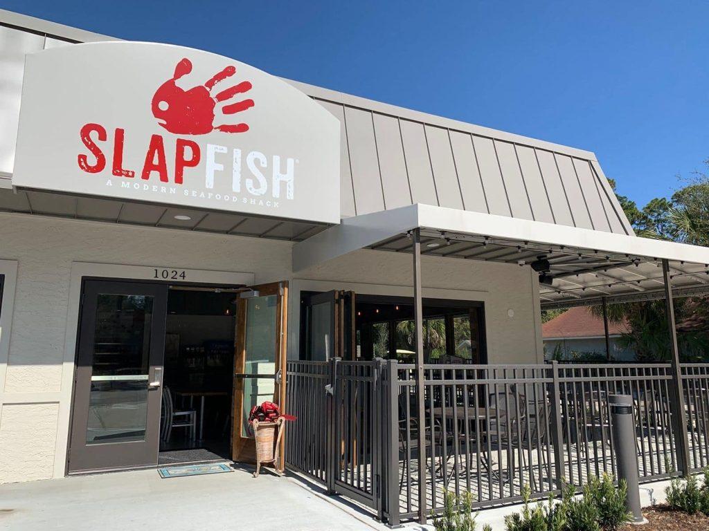 Slapfish Exterior sign and patio