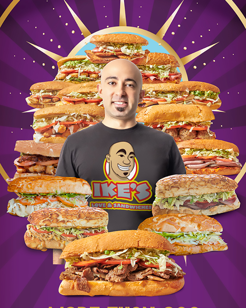 sandwich franchise Ike's founder surrounded by sandwiches