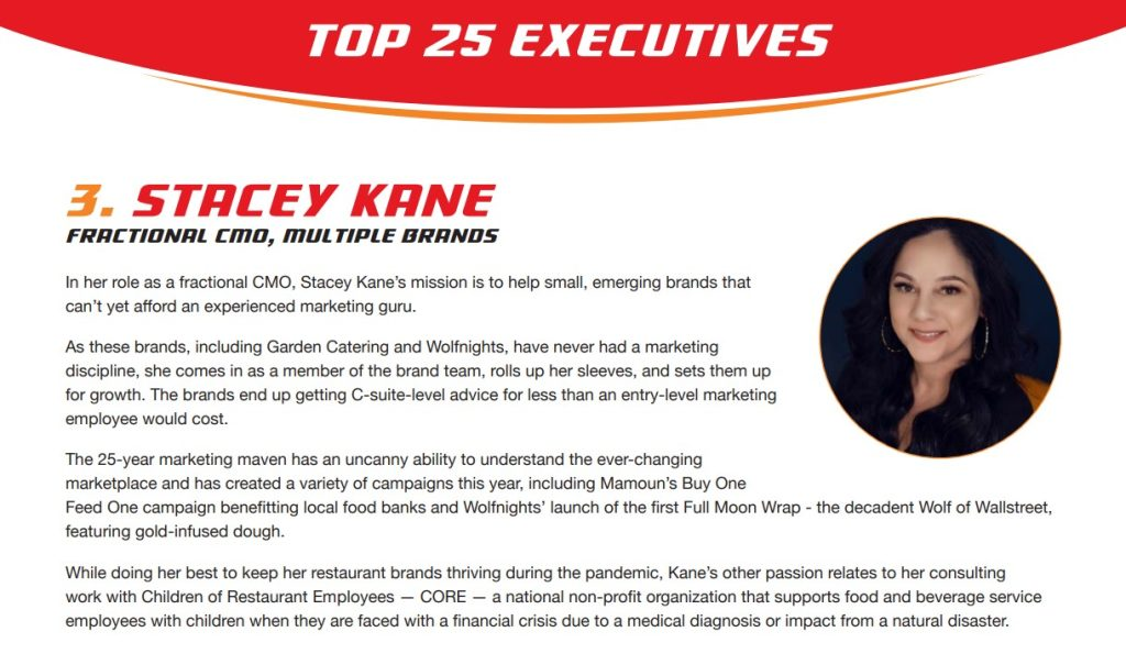 Wolfnights franchise fractional CMO named to top execs list