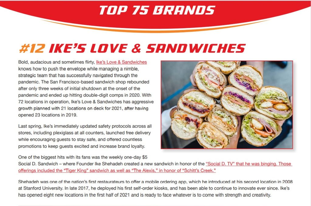 Ike's Love & Sandwiches named #12 by Fast Casual
